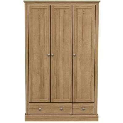 Devon Wooden Wardrobe In Oak With 3 Doors And 2 Drawers