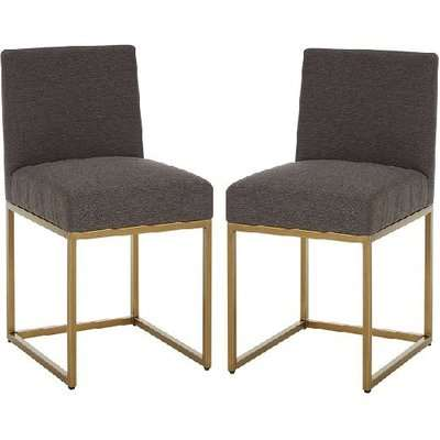 Chalawan Brass Base Dining Chair With Grey Top in Pair