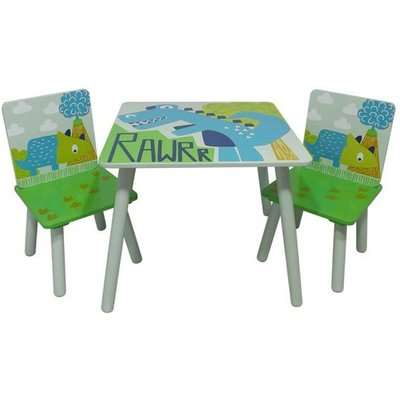 Dinosaur Kids Square Table With 2 Chairs In Green And White