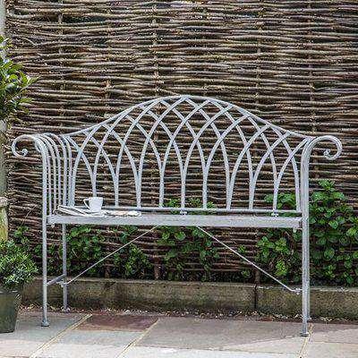 Duchmano Outdoor Metal Estate Bench In Silver