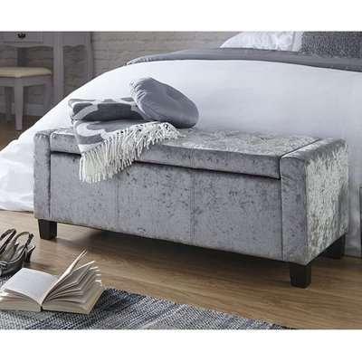 Dunston Crushed Velvet Ottoman Storage Blanket Box In Grey
