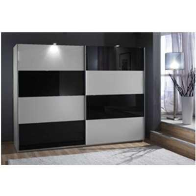 Easy Plus Sliding Wardrobe In White And Black Glass