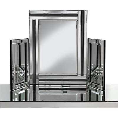 Elena Dressing Table Mirror In Silver With Black Inserts