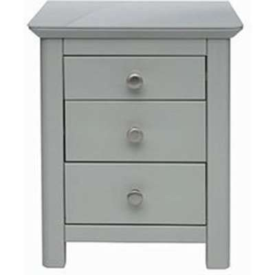 Elgin Glass Top Bedside Cabinet In Grey With 3 Drawers