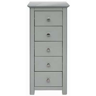 Elgin Glass Top Narrow Chest Of Drawers In Grey With 5 Drawers