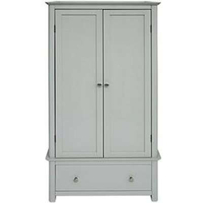 Elgin Glass Top Wardrobe In Grey With 2 Doors And 1 Drawers
