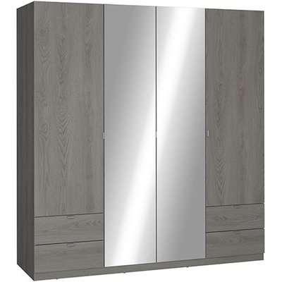 Ellim Mirrored Wooden Wardrobe In Hudson Oak With 4 Doors