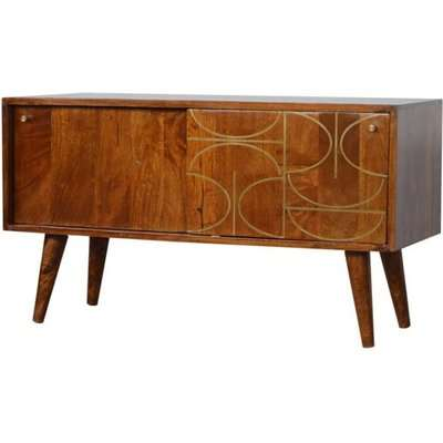 Emmis Wooden Gold Inlay Abstract TV Sideboard In Chestnut