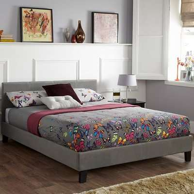 Evelyn Steel Fabric Upholstered Ottoman Single Bed