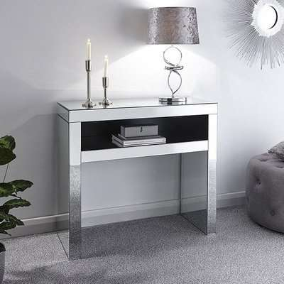 Fausto Mirrored Rectangular Console Table With Undershelf