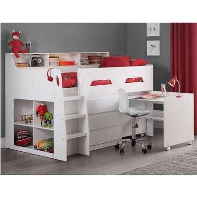 Fenton Midsleeper Children Bed In White With Storage And Desk