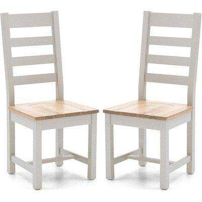 Ferndale Grey With Oak Seat Ladder Back Dining Chairs In Pair