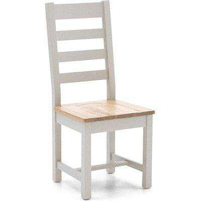 Ferndale Wooden Ladder Back Dining Chair In Grey With Oak Seat