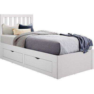 Ferndale Wooden Single Bed In White With 4 Drawers