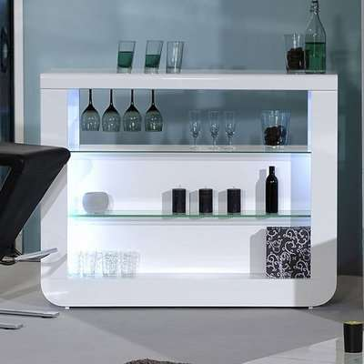 Fiesta Bar Table Unit In High Gloss White With LED Lights
