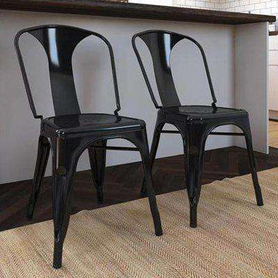 Fusion White Metal Dining Chairs In Pair