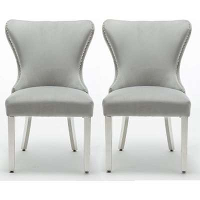 Floret Button Back Light Grey Fabric Dining Chairs In Pair