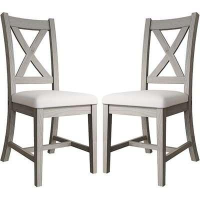 Floyd Grey Oak Wooden Cross Back Dining Chairs In Pair
