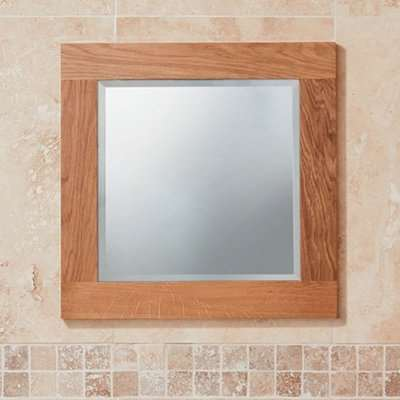 Fornatic Small Bathroom Mirror In Solid Oak Wooden Frame