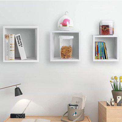 Frisco Wooden Wall Mounted 3 Cube Shelves In White