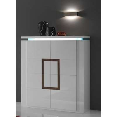 Garde Sideboard In White Gloss And Walnut With LED Lights