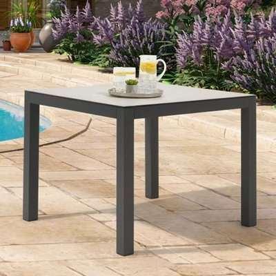 Gerbera 90cm Glass Top Garden Dining Table In Light Grey