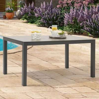 Gerbera 150cm Glass Top Garden Dining Table In Dark Grey
