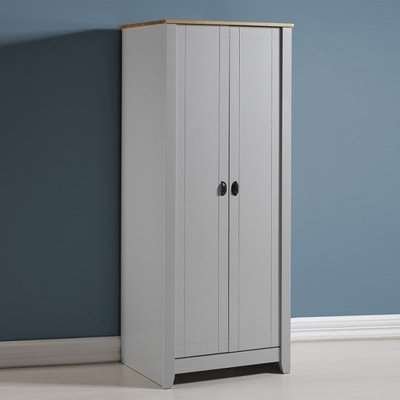 Gibson Wooden Wardrobe In Grey And Oak With 2 Doors