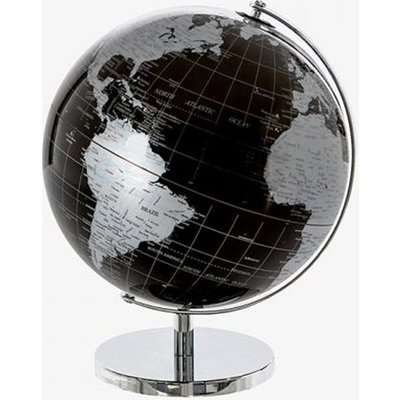 Globe Plastic Large World In Black And Silver With Metal Base