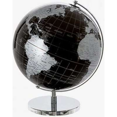 Globe Plastic Small World In Black And Silver With Metal Base