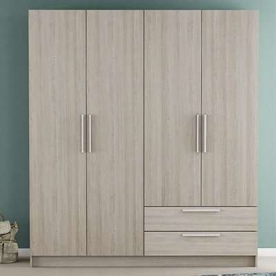 Glorify 4 Doors 2 Drawers Wooden Wardrobe In Shannon Oak