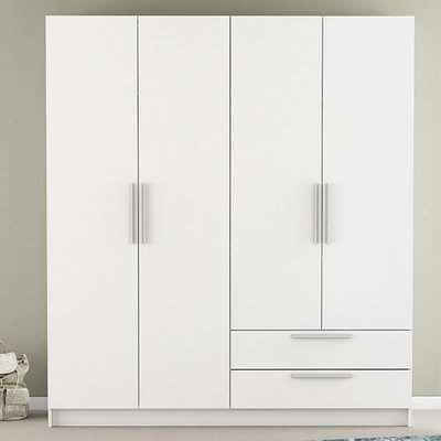 Glorify 4 Doors 2 Drawers Wooden Wardrobe In Matt White