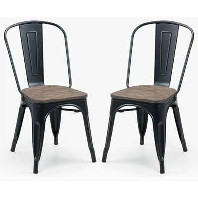 Grafton Mocha Elm Wooden Dining Chairs With Metal Frame In Pair