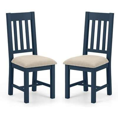 Grecian Wooden Dining Chair In Midnight Blue Lacquer In A Pair