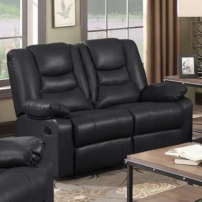 Gruis LeatherGel And PU Recliner 1 Seater Sofa In Black