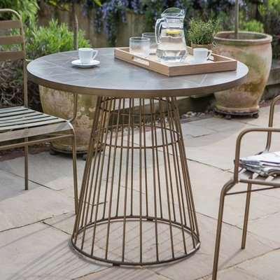 Halstow Ceramic Tiles Top Bistro Table In Bronze