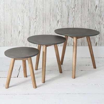 Hamilton Nest of 3 Tables Concrete Finish With Mindy Ash Legs