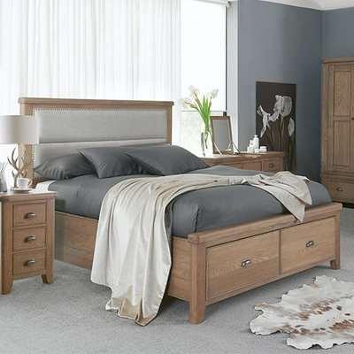 Hants Fabric Headboard Super King Size Bed In Smoked Oak