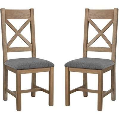 Hants Oak Cross Back Dining Chairs With Grey Seat In Pair