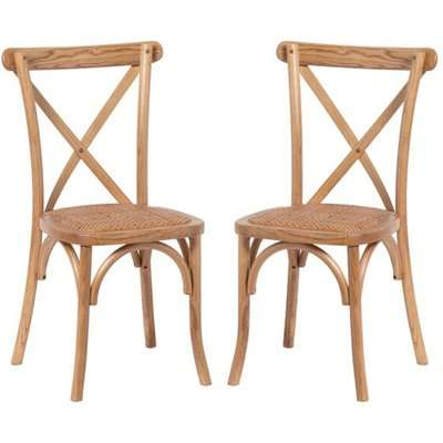 Hapron Cross Back Light Oak Wooden Dining Chairs In Pair