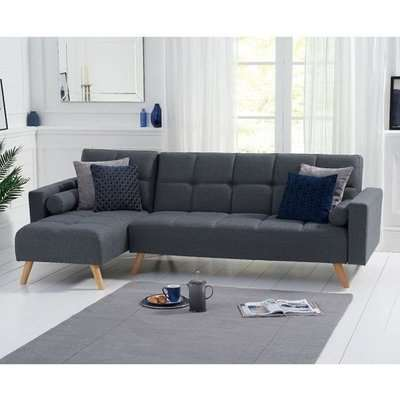 Headon Linen Left Hand Facing Chaise In Grey With Wood Legs