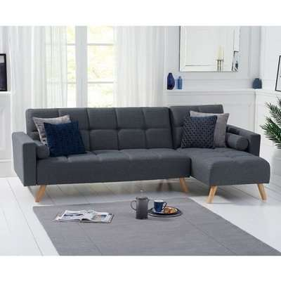 Headon Linen Right Hand Facing Chaise In Grey With Wood Legs