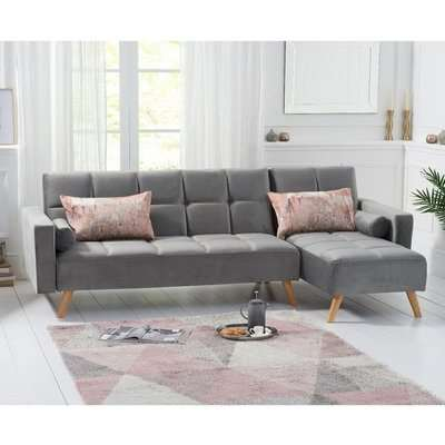 Headon Velvet Right Hand Facing Chaise In Grey With Wood Legs