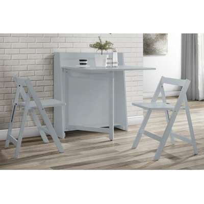 Helsinki Dining Set In Grey With 2 Folding Chairs