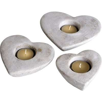 Hilari Stone Set Of Three Heart Tea Light Holders In Cream