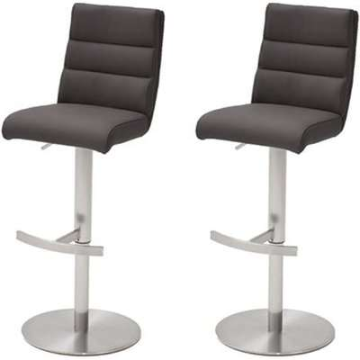 Hiulia Anthracite Leather Bar Stool With Steel Base In Pair