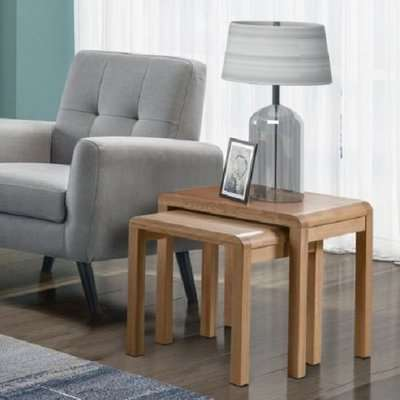 Holborn Wooden Nest Of 2 Tables Square In Oak