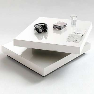 Hugo Square Coffee Table High Gloss White With Twist Top