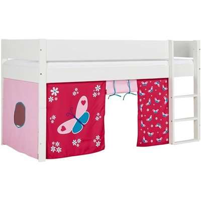 Huia Kids Mid Sleeper Bunk Bed In White And Butterfly Curtain