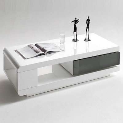 IDA Coffee Table In White High Gloss With Grey Rotating Drawer
